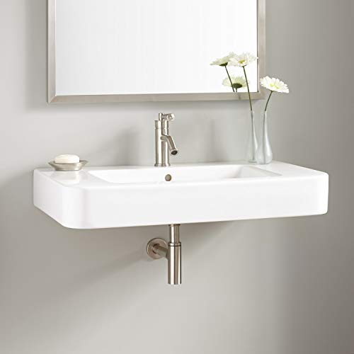 "Signature Hardware 937026 Burleson 34"" Vitreous China Wall Mounted Bathroom Sink with Single Faucet Hole and Overflow"