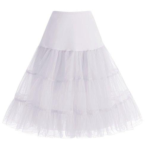 HomRain 1950 Petticoat Vintage Retro Unterrock Reifrock Underskirt Crinoline für Rockabilly Kleid Festliche Damenrock White L