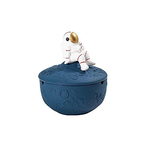 DWAC Cenicero De Cerámica con Tapa, Cenicero Creativo Astronauta Forma De Escritorio Fumar Bandeja De Ceniza, Cenicero A Prueba De Viento (Color : Blue)