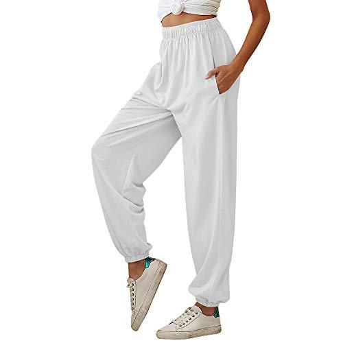 Nuofengkudu Mujer Harem Baggy Jogging Pantalones con Bolsillos Elastica Cintura Alta Comodo Llanura Largos Pantalón Deportiva Sports Jogger Pants Sweatpants Casual Ropa de Casa(Delgado-Blanco,M)