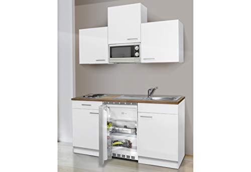 respekta Küchenblock 150 cm weiß weiß mit APL Butcher Nussbaum inkl. Mikrowelle KB 150 WWMI