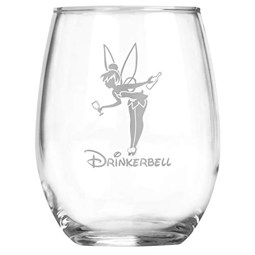 Fairy Gifts - Drinkerbell - 15 oz Stemless Adult Disney Princess Tinkerbell Inspired Wine Glass - Funny Birthday Party Theme - Accessories