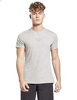 Reebok TE Melange Cotton Front Stitched Logo Slim-Fit T-shirt for Men XL
