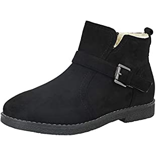 Customer reviews Ladies Cushion Walk Faux Suede Buckle Detail Warm Faux Fur Sheepskin Lined Flat Chelsea Ankle Boots Size 3-8 (UK 5, Black):Dailyvideo