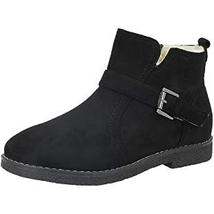 Customer reviews Ladies Cushion Walk Faux Suede Buckle Detail Warm Faux Fur Sheepskin Lined Flat Chelsea Ankle Boots Size 3-8 (UK 5, Black)