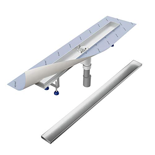 Komplett-SET - Duschrinne 80 cm AQUABAD® SDS Pro aus Edelstahl inkl. Haarsieb, Abgang senkrecht, befliesbare Mulde und Grundkörper-SET