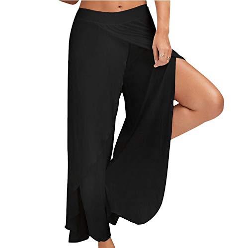 WSLCN Damen Tanzhose Locker Hose Bauchtanz Pilates Yoga Elastizität Lange Dünn Leicht Split Schwarz Label Asie XXXL:Taille 70-90cm
