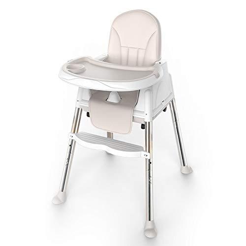 NSWDC Trona para bebé, Silla de bebé Ajustable/Silla de Comedor para niños y niñas fácil de Montar / 4 Ruedas/Altura Ajustable,Blanco