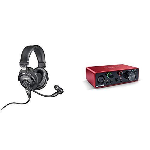 Audio-Technica BPHS1 Broadcast Stereo Headset with Dynamic Cardioid Boom Mic & Focusrite Scarlett Solo (3rd Gen) USB Audio Interface with Pro Tools | First