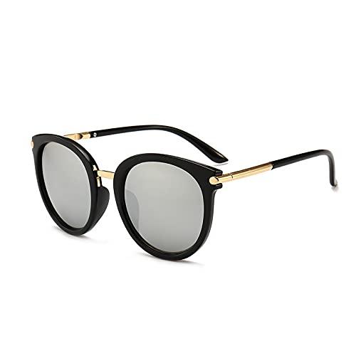 XUANTAO Gafas de Sol Gafas de Sol Mujer Tendencia Nueva protección UV Cara Redonda Gafas de Tiro callejeras Montura Negra Tabletas de Mercurio