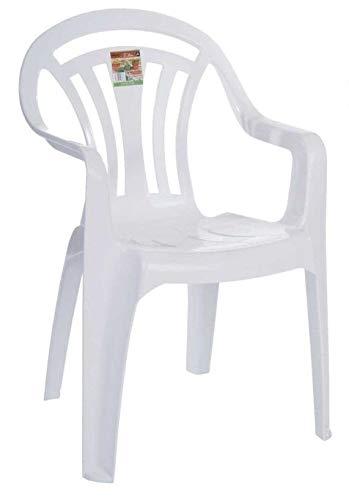 AQS INTERNATIONAL Plastic Low Back Garden Chair Lightweight Armchair Home Camping Fishing Patio Garden Picnic White (1)