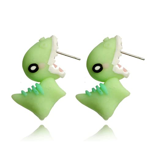 Fashion 3D Kawaii Animal Stud Earrings,Cute Animal Bite Earring,Cartoon Fashion Simple Handmade Animal Stud Earrings,Perfectly On Your Lobes,Party Holiday Fun Gifts (Dinosaur
