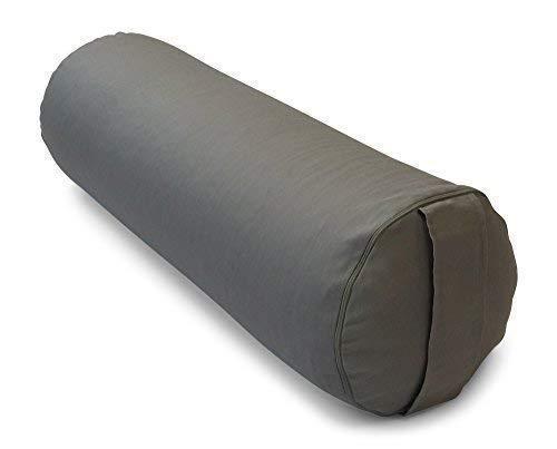 Merino Europa Yogarolle/Pilates und Yoga Bolster/Yogakissen Ø 22 cm x 65cm L, Bezug und Inlett 100% Baumwolle Farbe 82 GRAU, Füllung: Bio...