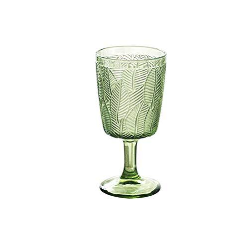 RONGXIANMA Copa de Vino 2 Piezas Hojas talladas Copa de Vino Grabado en Relieve