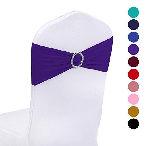 Peomeise 25pcs Purple Spandex Chair Sashes with Buckle Slider for Wedding, Party Decoration