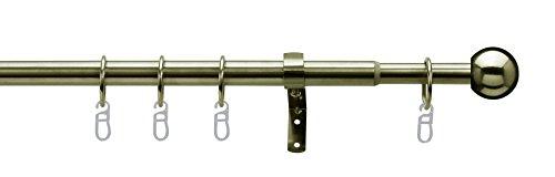Tilldekor ausziehbare Gardinenstange FORMENTOR, messing-antik, Ø 16/19 mm, 1-Lauf, 200 - 350 cm, inkl. Trägern und Ringen