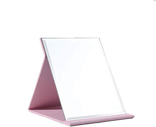 LHY- Maquillage Miroir Miroir Pliant Bureau Portable Étudiant Dortoir Princesse Femme De Bureau Grand Miroir La Mode (Color : Pink, Size : 21 * 15 cm)