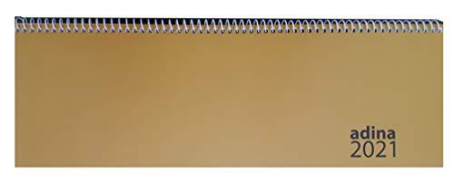2021 ADINA Tischquerkalender 1 Woche auf 2 Seiten Schreibtischkalender 30x10cm (2021, gold)