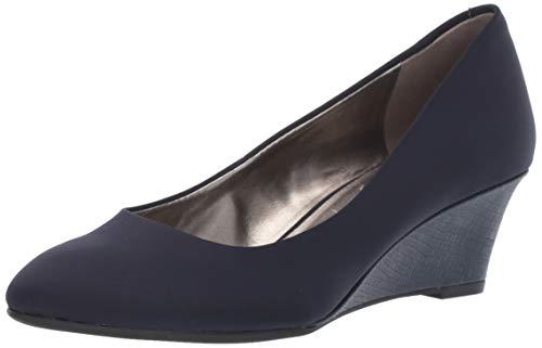 Bandolino Womens Fayola Wedge Heel Navy Fabric 9 M