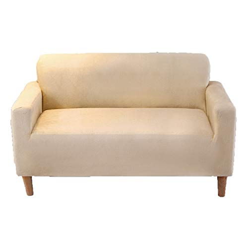 BHAHFL Funda de sofá Funda de sofá con diseño de Rayas Elegante - Funda de sofá de algodón y protección contra el Polvo, Las Manchas, los pelos de Perros y Gatos Funda de sofá,Beige,Double