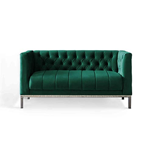 Mayfair Green Velvet 2 Seater Chesterfield Accent Sofa and Couches for Living Room or Office | Roseland Furniture Retro Upholstered Button Tuft Fabric Large Vanity Chair for Adults (Jasper)