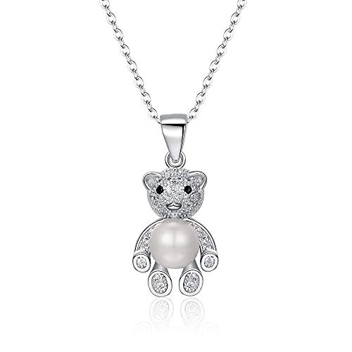 Clearine Collar de gato de plata de ley 925 con perla cultivada en agua dulce, joya para mujer y niña, Perla cultivada de agua dulce Circonita cúbica, Cubic Zirconia,