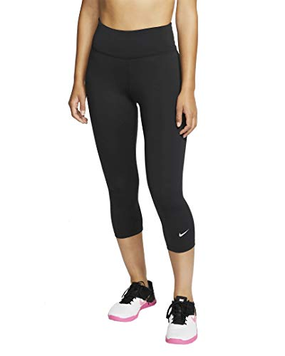 Nike One All-In Crop Tights Leggings (S, Black/White)