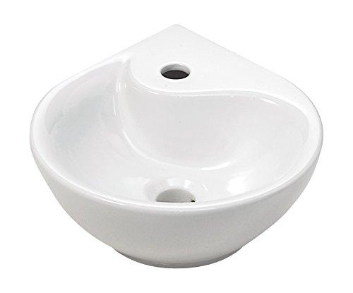 \'aquaSu® Eckhandwaschbecken droPino, 35 cm, Weiß, Eckwaschbecken, Einbauwaschtisch, Eckwaschtisch, Waschtisch, Gäste-WC