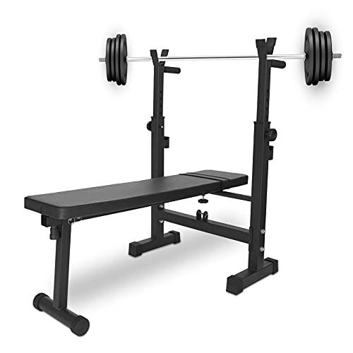 Crazyfly Verstellbare, faltbare Hantelbank und Kniebeugenständer, Dip-Station, zum Stärken des Gewichthebens, Neigungs-/Absenkübung, Langhantel-Training, Zuhause, Fitnessstudio, einfache Lagerung