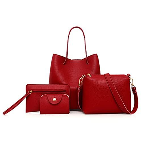 Juego de 4 bolsas de hombro de piel para mujer, bolso de mano, bolso grande, bolso de mano, bolsa de hombro, cartera para tarjetas, bolsa de compras, elegante, ideal para mujeres y niñas