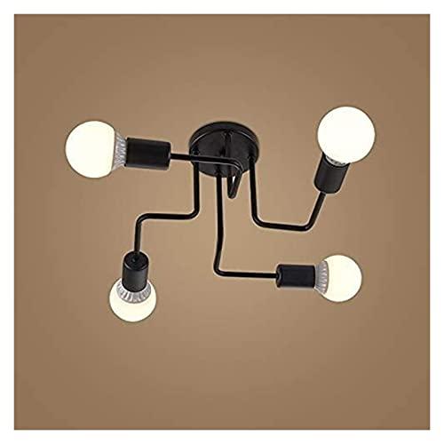 WSJTT Colgante de luz Luz de Techo, Lámpara de Techo de Montaje Negro de 4 Luces Retro de 4 Luces Modernas para el Dormitorio y Comedor de la Sala de Estar de la Sala de Estar [Clase de energía A ++