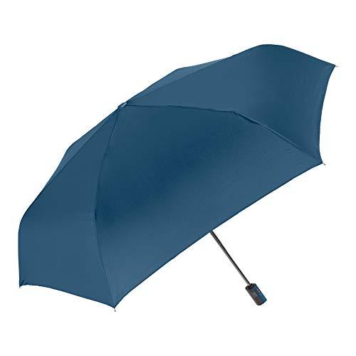 PERLETTI Regenschirm Blau Damen Herren Extra Flach Auf Zu Automatik - Taschenschirm Mini Frauen Ultra Leicht - Regen Schirm Handtasche Kompakt Stabil Windproof Sturmsicher Sturmfest im Etui (Blau)