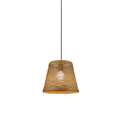 DENGJIN Lámpara colgante de linterna de bambú de estilo japonés, lámpara colgante E27, accesorio de iluminación de techo para sala de estar, dormitorio, restaurante, cafetería, bar, accesorios con cab