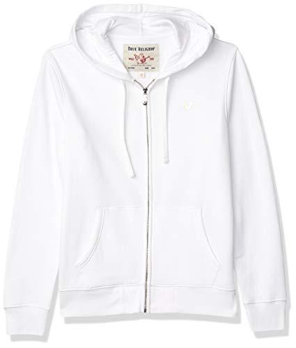True Religion Men's Buddha Logo Zip Up Hoodie, White, X-Large