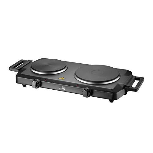 Lentz Doppelkochplatte Doppel Duo Kochplatte 1500 Watt + 1000 Watt | schwarz | Kochfeld TÜV geprüfte Markenqualität inkl Haltegriffen