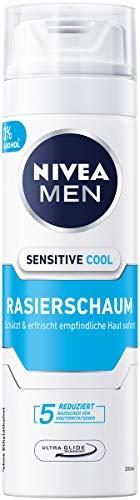NIVEA MEN Sensitive Cool Rasierschaum im 6er Pack (6 x 200 ml), Rasierschaum für eine glatte und sanfte Rasur, erfrischender Rasierschaum für Herren