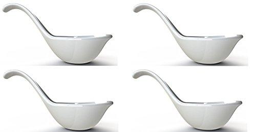 BMTick Poggia cucchiano Individuale e Piattino per bustina del tè (Porcellana Bianca) (Confezione da 4!)