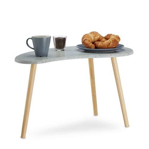 Relaxdays Beistelltisch grau für Wohnzimmer, kleiner Kaffeetisch, Nierentisch 3-beinig, Retro-Design, HxBxT: 40x70x40 cm