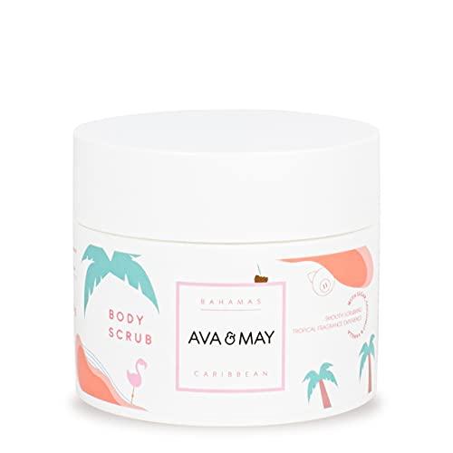 AVA & MAY Bahamas Body Scrub (200ml) – Körperpflege mit zartem Duft nach Kokosnuss, Vanille und Monoi – Feuchtigkeitsspendende Hautpflege – Körperpeeling mit...