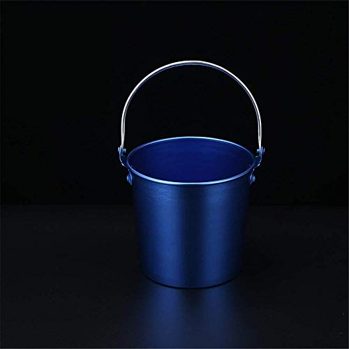 CLJ-LJ Cubos de hielo de acero inoxidable, cubo de hielo de color, barra casera, cubo de playa, clip de hielo, 1,75 litros, azul