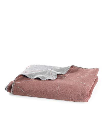 myHomery Kuscheldecke aus Baumwolle - Decke fürs Sofa mit Kettelrand - Wolldecke warm & kuschelig - Sofadecke XL eleganten Stripes Bordeaux | 150x200 cm