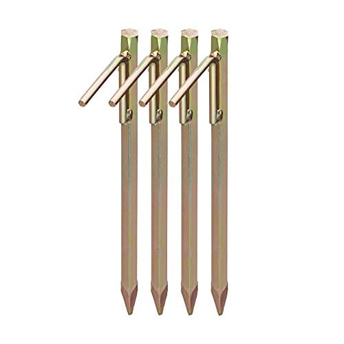 Relaxdays, 30,5 cm, Dorado Set de Cuatro piquetas para Camping, Clavos para Suelos Duros, Acero galvanizado