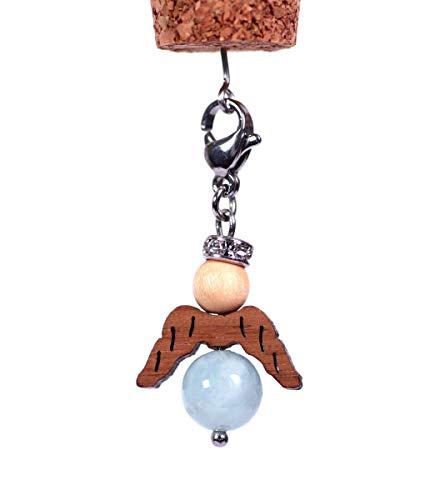 Schutzengel im Glas - Glücksbringer Anhänger mit Swarovski Kristallkrone und Aquamarin Edelstein