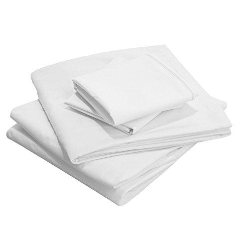 Scala - Juego de 4 sábanas (800 Hilos, 100% algodón Egipcio, Queen Size), Color Blanco Opaco