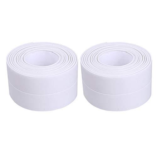 Zhongtou 2 Stück Dichtband Selbstklebend Wasserdichtes Klebeband Weiß Selbstklebende Dichtungsstreifen für Badezimmer Küche Toilette Wandecke Wanne