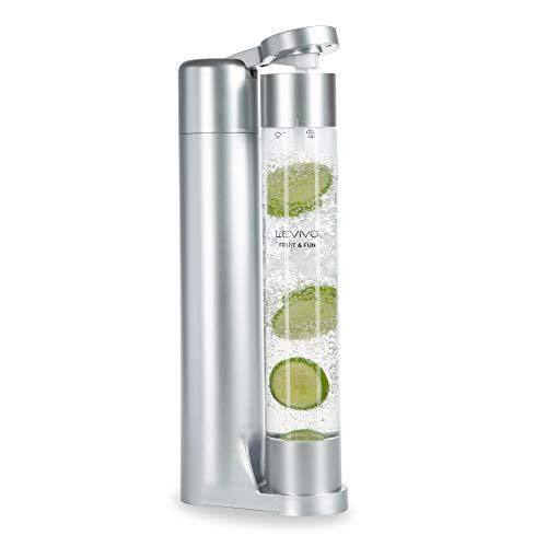 Levivo Wassersprudler Fruit & Fun Sprudler Slim, mit 1-Liter-Sprudlerflasche, Kohlensäure für Wasser, Softdrinks, Cocktails, Säfte und andere Getränke, Farbe silber