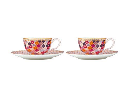 Maxwell & Williams Teas & C's Kasbah Porzellan-Tasse mit Untertasse, 85 ml, Rosa, 2 Stück