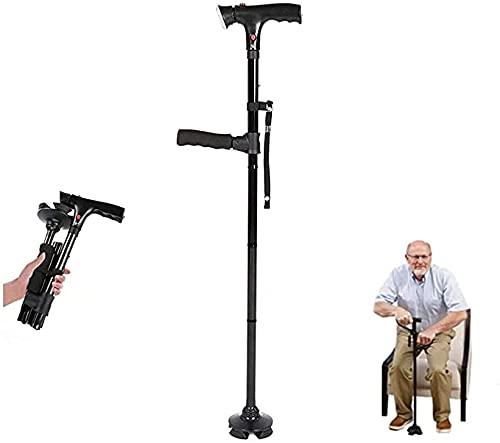 Clever Cane Bastón de Dos Asas con Alarma y luz LED,Poste de Viaje Plegable,bastón cuádruple Antideslizante de 4 Puntas Ajustable en Altura,para Personas Mayores con Artritis discapacitadas