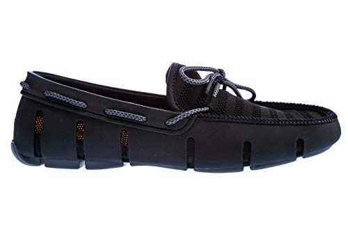 Swims Knit Lace Loafer Shoe in Black & Grey   Loafers Flat Boat Shoes Driving Slippers