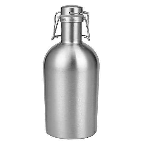 CKMSYUDG Botellas de cerveza de acero de la capacidad de la tapa superior del oscilación 2L de la cerveza del Growler para al aire libre